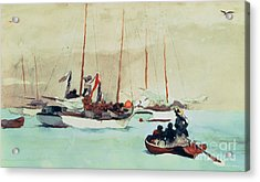 Schooners At Anchor In Key West Acrylic Print by Winslow Homer