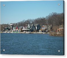 Acrylic Print featuring the photograph Schuylkill River - Boathouse Row In Philadelphia by Bill Cannon