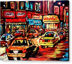 Schwartz's Deli At Night Acrylic Print by Carole Spandau