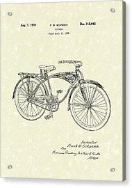 Schwinn Bicycle 1939 Patent Art Acrylic Print by Prior Art Design