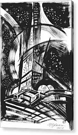 Sci Fi City Acrylic Print by Yelena Tylkina