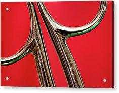 Scissors Handle On Red Acrylic Print