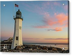 Scituate Lighthouse Scituate Massachusetts South Shore At Sunrise Acrylic Print
