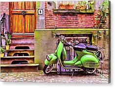 Acrylic Print featuring the painting Scooter Parking Only by Edward Fielding