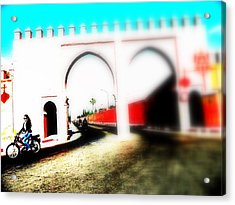 Scootering Through A Medina Gate  Acrylic Print by Funkpix Photo Hunter