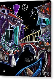 Scorcio Veneziano - Venise Art Dessin - Dibujo Canal De Venecia Acrylic Print by Arte Venezia