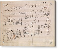 Score Sheet Of Moonlight Sonata Acrylic Print by Ludwig van Beethoven