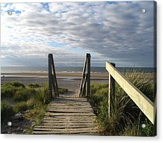 Scotland Findhorn Boardwalk Acrylic Print by Yvonne Ayoub