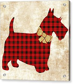 Acrylic Print featuring the mixed media Scottie Dog Plaid by Christina Rollo