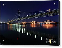 Scottish Steel In Silver And Gold Lights Across The Firth Of Forth At Night Acrylic Print