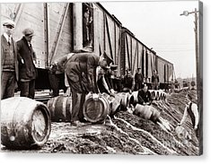 Scranton Police Dumping Beer During Prohibition  Scranton Pa 1920 To 1933 Acrylic Print