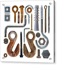 Screws, Nut Bolts, Nails And Hooks Acrylic Print