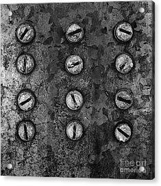 Screws On Utility Box Acrylic Print