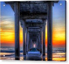 Acrylic Print featuring the photograph Scripp's Pier Sunset La Jolla California by Gigi Ebert