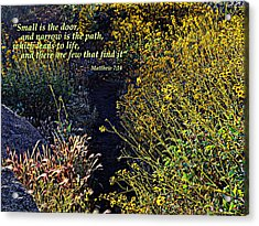 Acrylic Print featuring the photograph Scripture - Matthew 7 Verse 14 by Glenn McCarthy Art and Photography