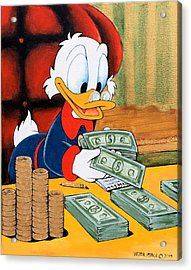 Scrooge Mcduck Counting Money Acrylic Print