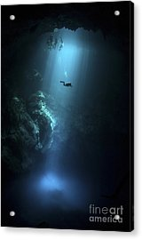 Scuba Diver Descends Into The Pit Acrylic Print by Karen Doody