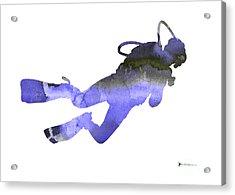 Scuba Diver Watercolor Silhouette Acrylic Print by Joanna Szmerdt