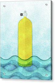 Scuba Diving - Yellow Tank On Blue Acrylic Print