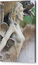 Sculpture Of Angelic Woman Acrylic Print by Christopher Purcell