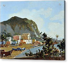 Acrylic Print featuring the painting Sea And Mountain With Boats by Rosario Piazza