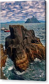 Acrylic Print featuring the painting Sea And Stone by Jeff Kolker