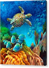 Acrylic Print featuring the painting Sea Escape IIi - Gemstone Hawksbill Turtle by Nancy Tilles
