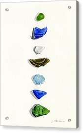 Sea Glass Watercolor Acrylic Print by Sheryl Heatherly Hawkins