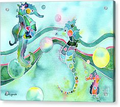 Sea Horses Dance Prints  Acrylic Print
