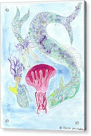Sea Joys, Red Jelly Fish And Dragon Acrylic Print