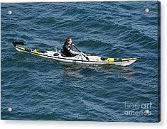 Sea Kayak Man Kayaking Off The Coast Of Dorset England Uk Acrylic Print by Andy Smy