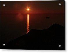 Sea, Mountains, Sunset, Sun Sinking Over The Horizon Acrylic Print