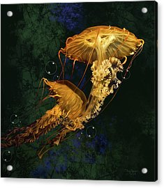 Acrylic Print featuring the digital art Sea Nettle Jellies by Thanh Thuy Nguyen