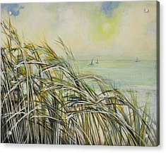 Sea Oats Sailboats Acrylic Print by Michele Hollister - for Nancy Asbell