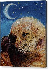 Sea Otter Pup Acrylic Print by Michael Creese
