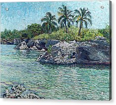 Sea Rocks And Coconuts Acrylic Print