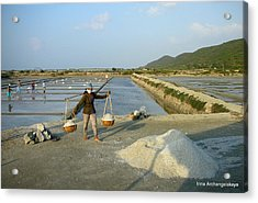 Sea Salt Harvesting In Vietnam  Acrylic Print