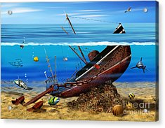 Sea Shipwreck In The Depths Acrylic Print