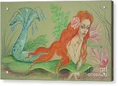 Sea Siren, Resting -- Whimsical Mermaid Drawing Acrylic Print
