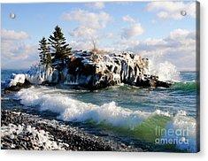 Sea Smoke At Hollow Rock Acrylic Print by Sandra Updyke