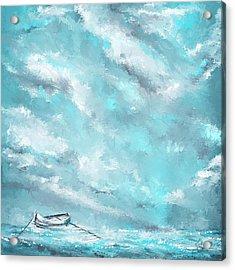 Sea Spirit - Teal And Gray Art Acrylic Print by Lourry Legarde
