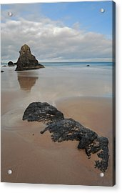 Sea Stack And Jurassic Looking Rock On Sango Bay Acrylic Print by Maria Gaellman