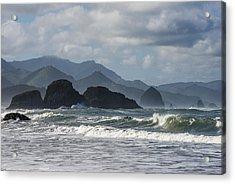 Sea Stacks And Surf Acrylic Print