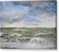 Acrylic Print featuring the painting Sea Storm by Sibby S