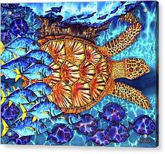 Sea Turtle And Fish Acrylic Print