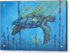 Sea Turtle And Fish Acrylic Print by Erik Loiselle
