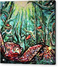 Sea Turtle And Garibaldi Acrylic Print by Dennis Velco