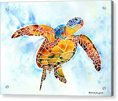 Acrylic Print featuring the painting Sea Turtle Gentle Giant by Jo Lynch