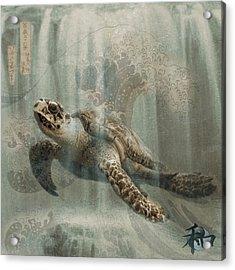 Sea Turtle Great Wave Acrylic Print by Karla Beatty