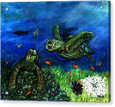 Sea Turtle Rendezvous Acrylic Print by Tanna Lee M Wells